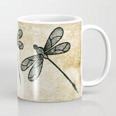 Dragonflies on tan texture Mug