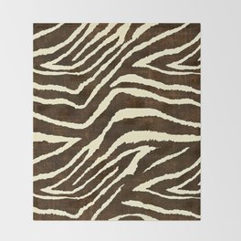 ZEBRA IN WINTER BROWN AND WHITE Throw Blanket