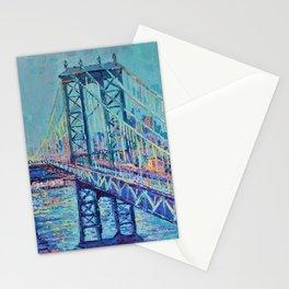 Manhattan Bridge - Palette Knife Urban City Landscape bu Adriana Dziuba Stationery Cards