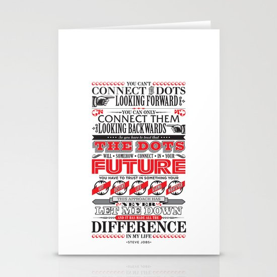 "Steve Jobs ""Connecting the dots"" quote print Stationery Cards"
