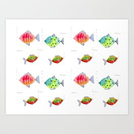 Whimsical fishes watercolor pattern Art Print