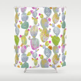 Blooming Spring Cacti Shower Curtain
