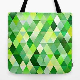 Lime Green Yellow White Diamond Triangles Mosaic Pattern Tote Bag