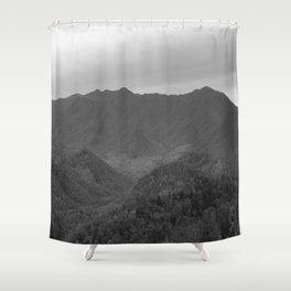 Black and White Mountains Shower Curtain