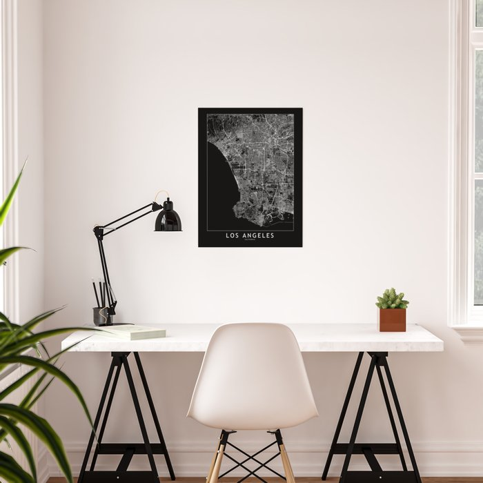 Los Angeles Black Map Poster