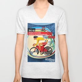 UCI Melbourne World Cycling Championships Poster with Text Unisex V-Neck