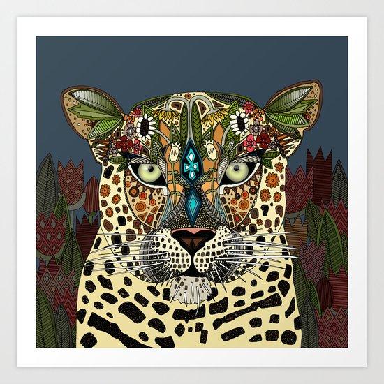 leopard queen blue Art Print
