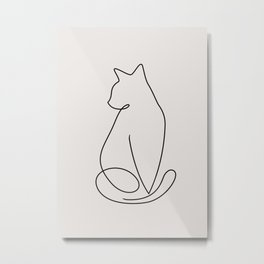 One Line Kitty Metal Print