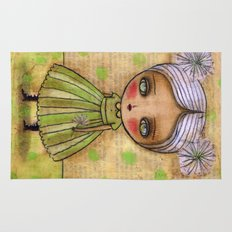 Dandelion Girl in Yellow And Green Rug