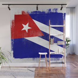 Cuba Distressed Halftone Denim Flag Wall Mural