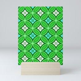 Shippo with Flower Motif, Shades of Jade Green Mini Art Print