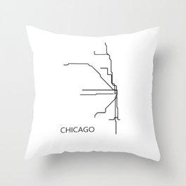 Chicago Metro Map - Black and White Art Print Throw Pillow