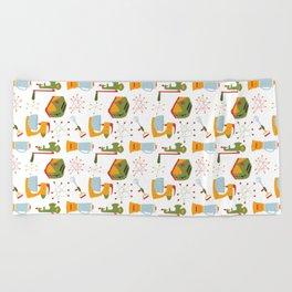 Retro Kitchen - Orange and Green Beach Towel