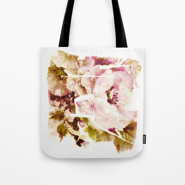 slashed floral Tote Bag