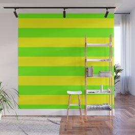 Bright Neon Green and Yellow Horizontal Cabana Tent Stripes Wall Mural