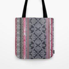 Burgundy, Pink, Navy & Grey Vintage Bohemian Wallpaper Tote Bag