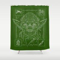 yoda Shower Curtains featuring Yoda by Jon Deviny