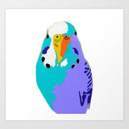 Parakeet Budgie Bird Colorized Art Print