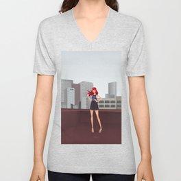 Urban girl on the roof Unisex V-Neck