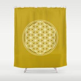Flower of Life – Golds & White Shower Curtain