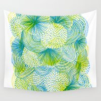 lime Wall Tapestries featuring Space lime by Marcelo Romero