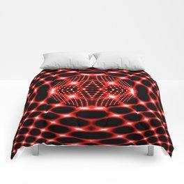 Neon red glob fractal Comforters