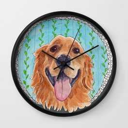 You're Never Fully Dressed without a Smile, Golden Retriever, Whimsical Watercolor Painting, Grey Wall Clock