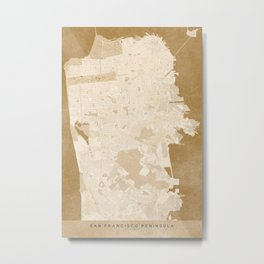 San Francisco Penninsula vintage map in sepia Metal Print