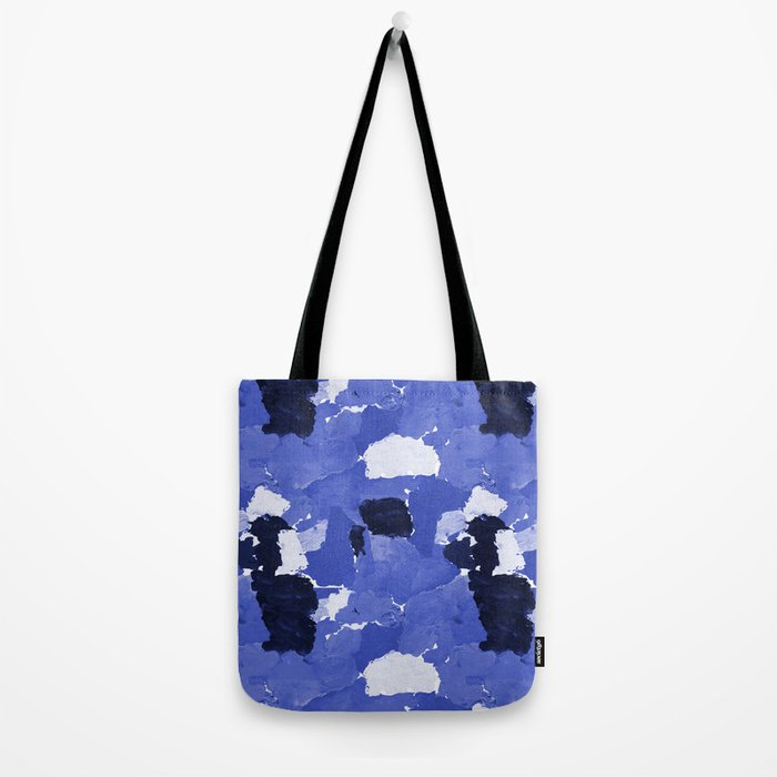 Kenni - abstract paint palette blue white navy bright modern gender neutral painting brushstrokes  Tote Bag