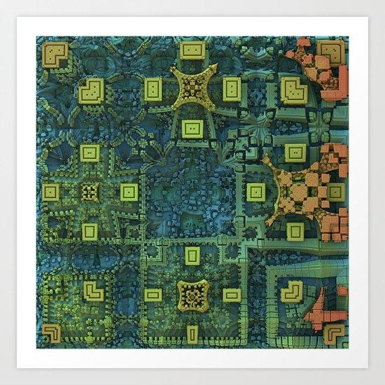 "Fractal ""City Map"" Art Print"