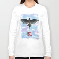 hiccup Long Sleeve T-shirts featuring Hiccup and Toothless Flying from How to Train your Dragon 2 by Brietron Art