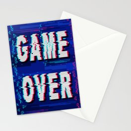 Game Over Glitch Text Distorted Stationery Cards
