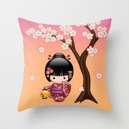 Japanese Sakura Kokeshi Doll Throw Pillow