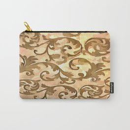 Stylized Foliage Leaves In Gold Carry-All Pouch
