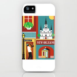 New Orleans, Louisiana - Collage Illustration by Loose Petals iPhone Case