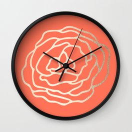 Rose White Gold Sands on Deep Coral Wall Clock