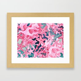 Pink Starfish and coral watercolor reef Framed Art Print