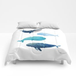 Cool whales Comforters