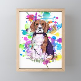 Cute watercolor beagle with paint splatters Framed Mini Art Print