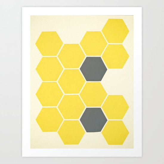 Yellow Honeycomb Art Print