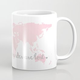 Not all Those Who Wander are Lost in Blush Pink and Gray Coffee Mug