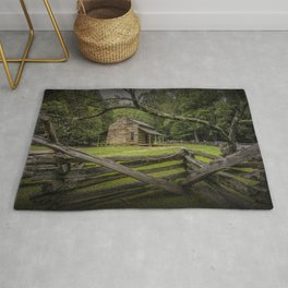 Oliver Log Cabin in Cade's Cove Rug