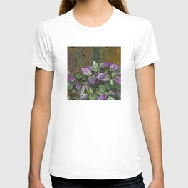 Purple and Green Leaves on Multi-Colored Bark T-shirt