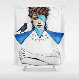 Blue Girl & Black Bird Shower Curtain