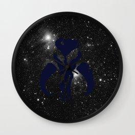 Navy Mythosaur Skull on Stars Wall Clock