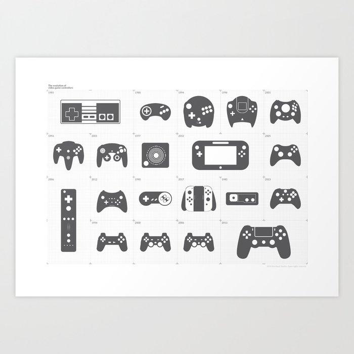 The Evolution of Video Game Controllers Kunstdrucke