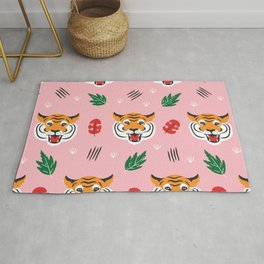 Kitschy Tigers on Pink Rug