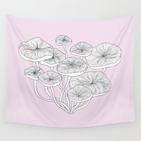 mushrooms Wall Tapestries featuring Mushrooms by Monica Sloane