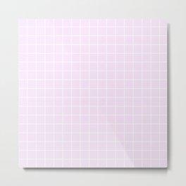 Pale purple (Pantone) - pink color - White Lines Grid Pattern Metal Print