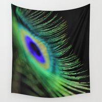 peacock feather Wall Tapestries featuring Peacock feather by Falko Follert Art-FF77